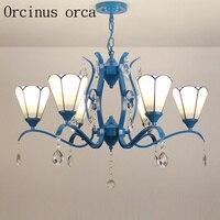 Europese Mediterrane stijl Ijzeren Kroonluchter Tiffany Amerikaanse stijl eenvoudige woonkamer eetkamer slaapkamer lampen en lantaarns