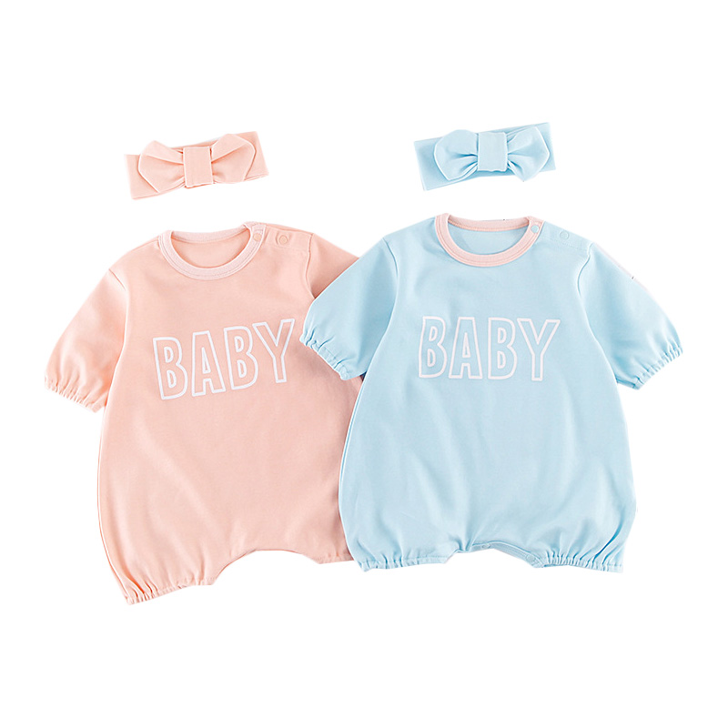 Newborn Baby Girls Romper Sets Cute Short Sleeve Romper+Headband 2Pcs Suit Summer Girl Cotton Infant Costume Babies Outfits puseky 2017 infant romper baby boys girls jumpsuit newborn bebe clothing hooded toddler baby clothes cute panda romper costumes