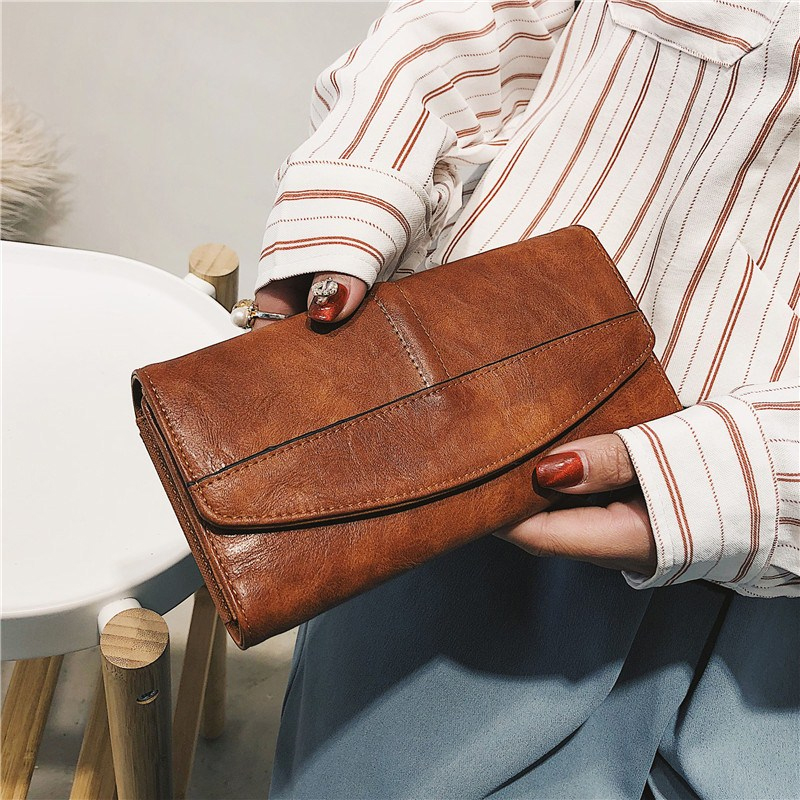 Cowhide Leather Trifold Wallet Women Long PU Leather Women's Clutch Purse