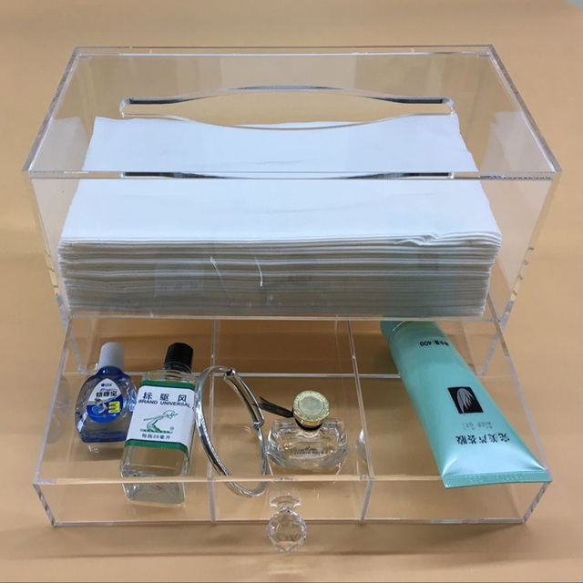 Transparent Tissue Holder Paper Dispenser With Magnetic Cover Jewelry Storage Box With Drawer Acrylic Tissue Organizer Box