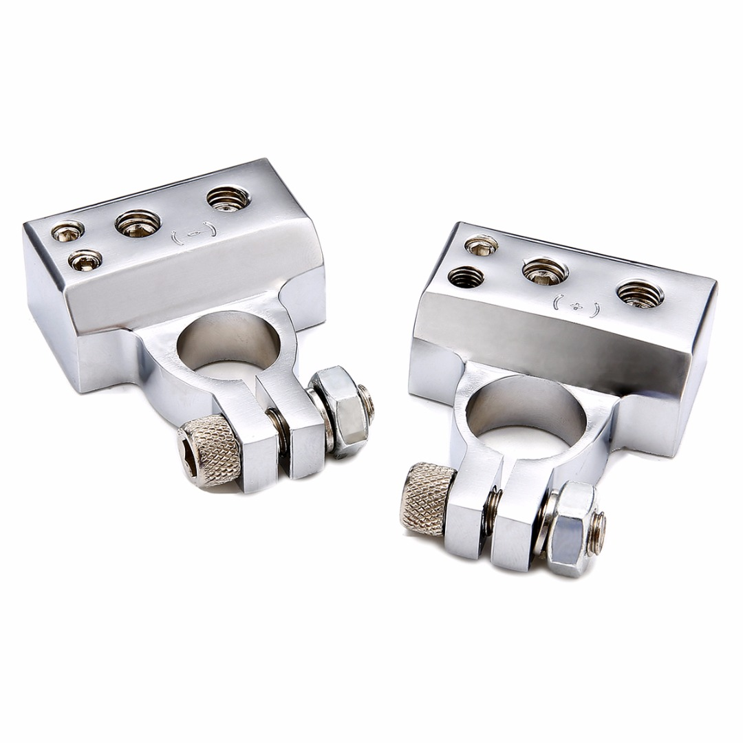 1 Pair Car Silver Plated Battery Terminal Set 2 4 8 Gauge AWG Positive & Negative Battery Clamp Terminal