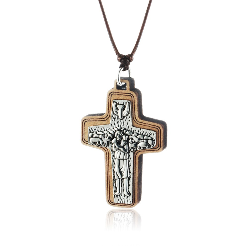 Rope Chain Necklace for Men Women Religious Jewelry kolye Jesus Shepherd  Cross Handmade Wood Pendant Necklace Christ Gifts MN228