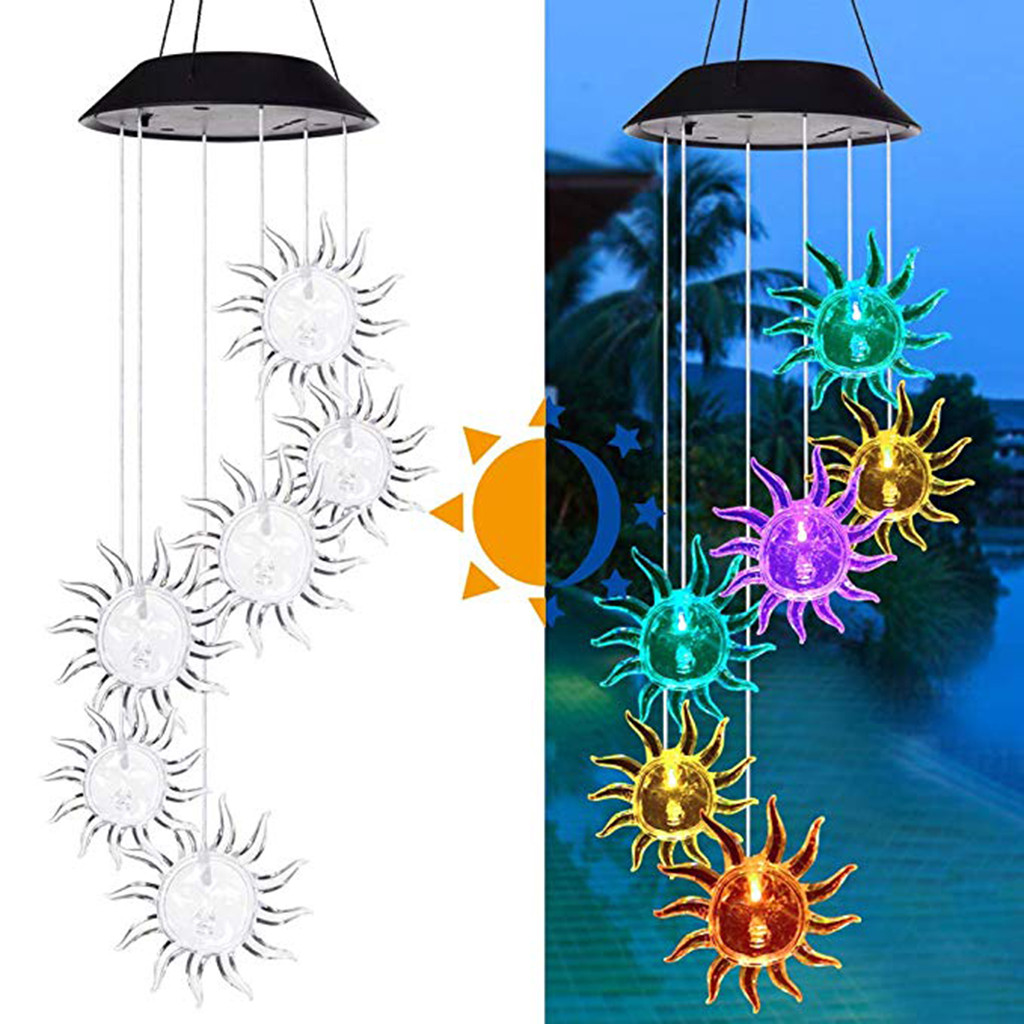 Us 4 25 38 Off 2019 Christmas Lights Outdoor Solar Powered Wind Chime Light Led Garden Hanging Spinner Lamp Color Changing Luces De Navidad On