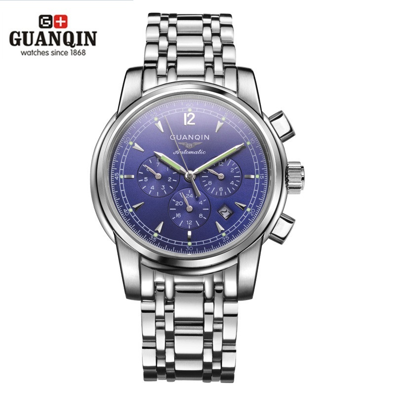 Top Brand GUANQIN Watch Men Luxury Reloj Men Big Face Watches Watched Men Watches Waterproof Stainless Steel Male Wristwatches mce top brand mens watches automatic men watch luxury stainless steel wristwatches male clock montre with box 335