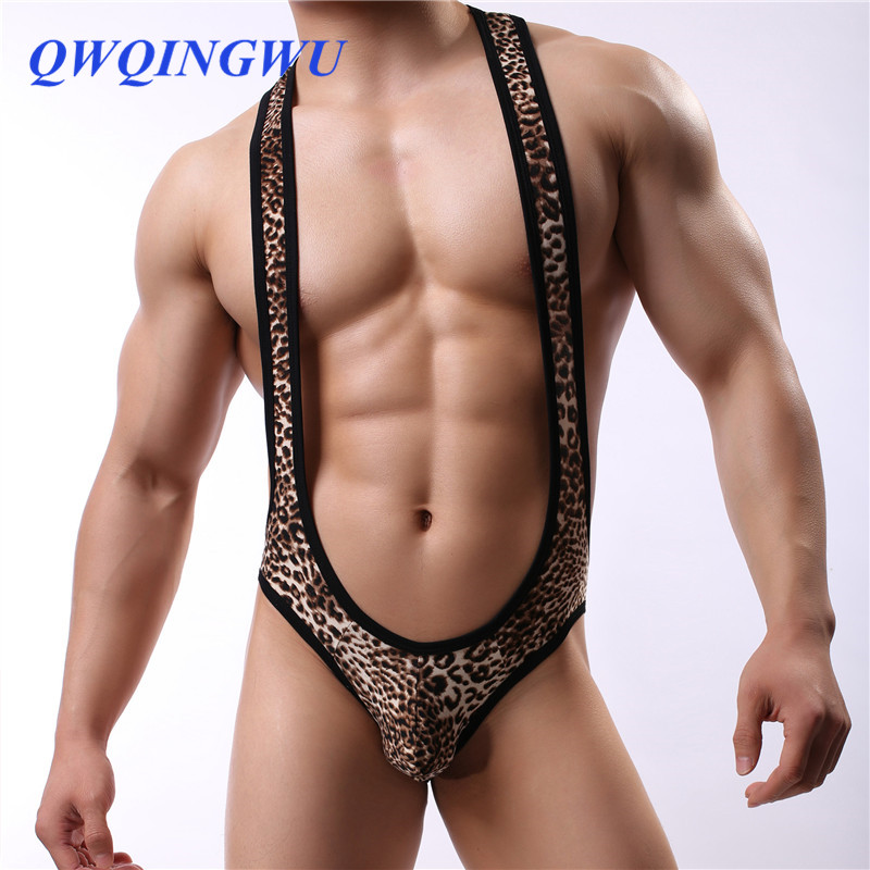 Sexy Men Onesies Bodysuit Sexy Leopard Sexy Open Butt Onesies Body Stocking Man Jumpsuit Wresting Shapper Gay Jumpsuit Onesies