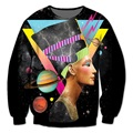 Real USA Size Nefertiti Galaxy 3D Sublimation print Crewneck Sweatshirts streetwear