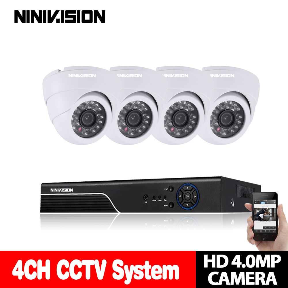 KIT de vidéosurveillance 4CH AHD 2560*1440 P 4MP DVR système de Surveillance vidéo caméra dôme HD système de caméra de sécurité à domicile Vision nocturne