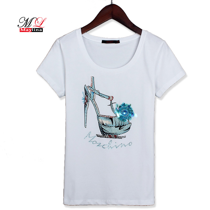 Fitaylor Summer Women Cotton T Shirt 2017 Sequins Fashion Black White Casual Plus Size Female Tops