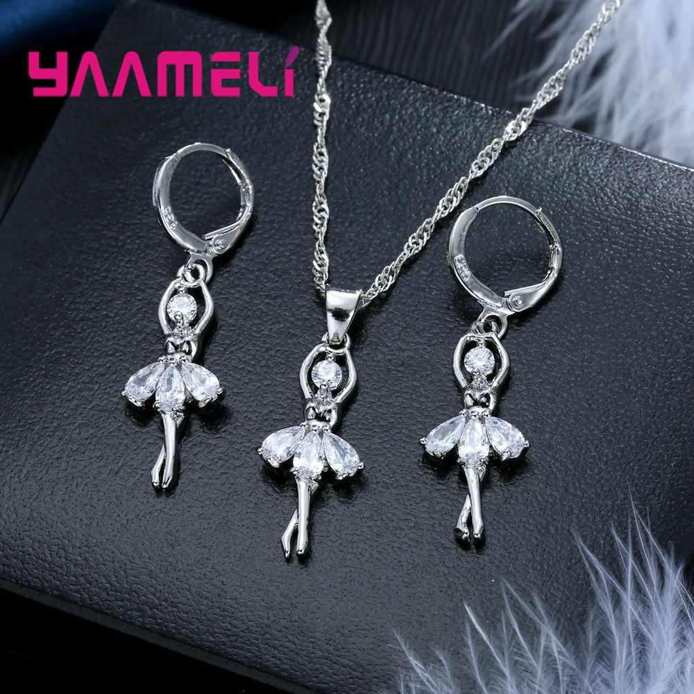 Vogue 925 Sterling Silver Jewelry Gift Sets Cute Ballet Dancer Design Necklace Hoop Loop Earrings for Women Party