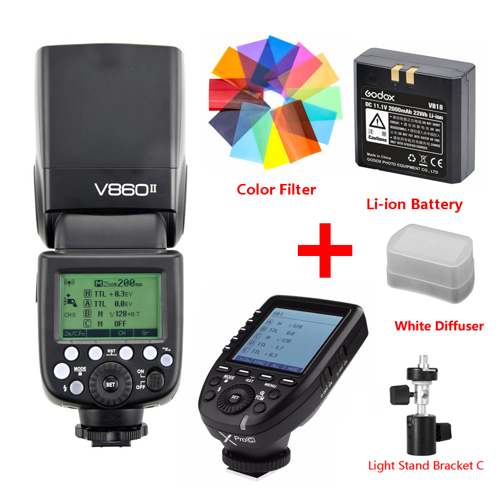 Godox Ving V860 II Li-ion Battery Speedlite Flash For Sony A7 A6000 A6300 for Canon Nikon Fuji Olympus w/ Xpro Flash Transmitter