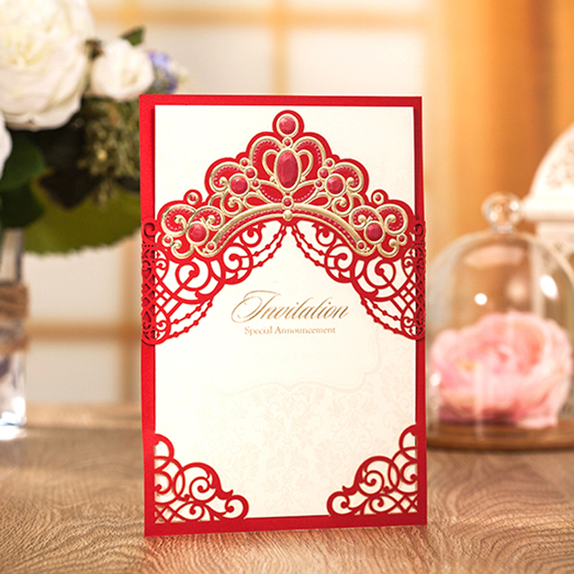 10 Pieces Lot New Design Royal Red Wedding Invitation Card With Gold Embossed