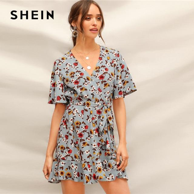 SHEIN Blue Ruffle Hem Surplice Wrap Floral Belted Summer Short Boho Dress Women V-Neck Flounce Sleeve Straight Casual Dresses