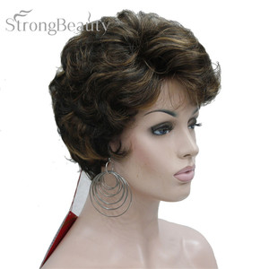 Image 2 - StrongBeauty Short Black Brown Mix Blonde Highlights Wigs Women Synthetic Curly Wigs