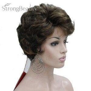 Image 2 - StrongBeauty короткий черный коричневый микс блонд парик с окраской перьями Женские синтетические вьющиеся парики