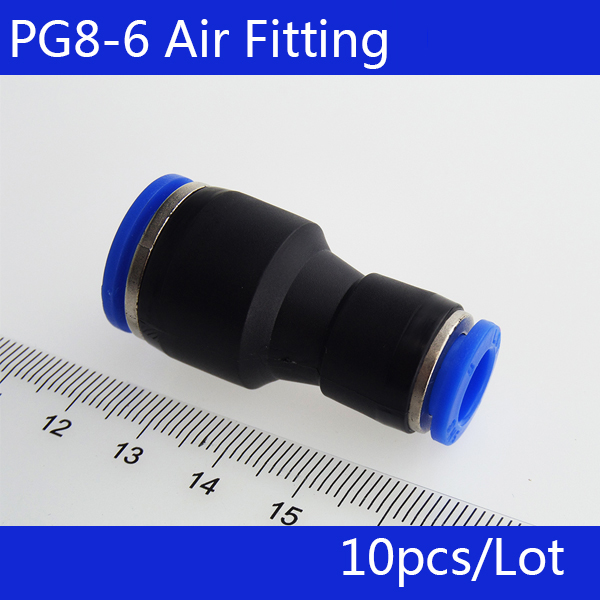 Free shipping 10 pcs PG8-6 Unequal Diameter Air Tube Fitting Straight Union,One Touch Push In Pneumatic Fitting Connectors free shipping 30pcs peg 10mm 8mm pneumatic unequal union tee quick fitting connector reducing coupler peg10 8