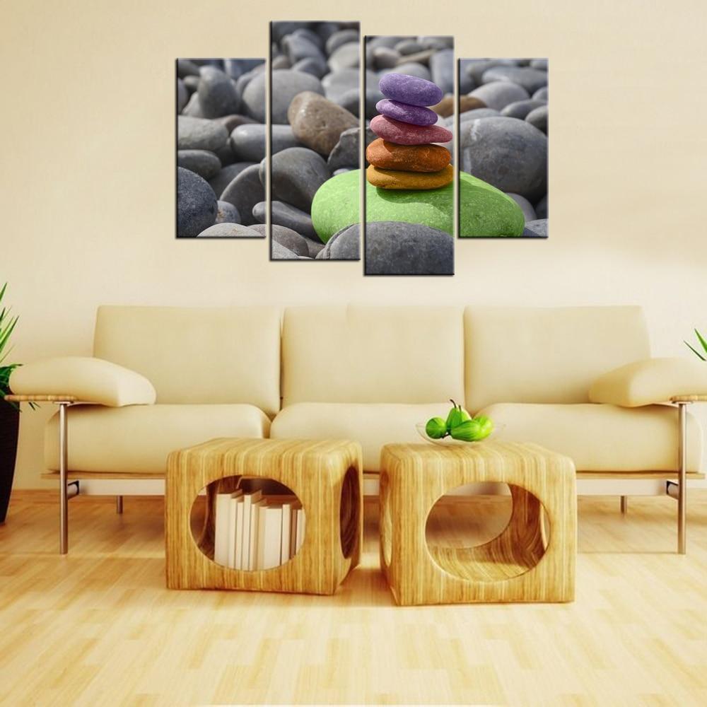 4Pcs Living Room Decor Wall Art Pebble Balance Stones Meditation Zen ...