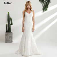 YeWen Elegant V Neck Ivory Lace Satin High End Mermaid Wedding Dresses 2018 Plus Size Original