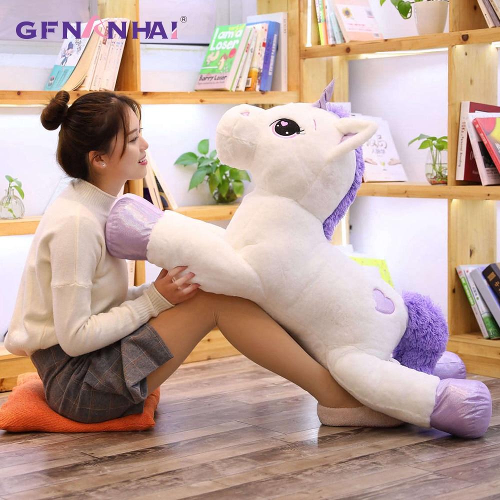 1 pc 60-110 CM unicornio de peluche de juguete suave de peluche Popular unicornio de dibujos animados muñecas Animal caballo de juguete de alta calidad juguetes para niñas