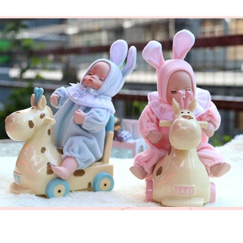 European Style Simulation Baby Wooden Horse Bobbleheads Music Box Creative Ceramics Artware Birthday Gift L875 new original solenoid valve sy9220 5dz c12f q high quality
