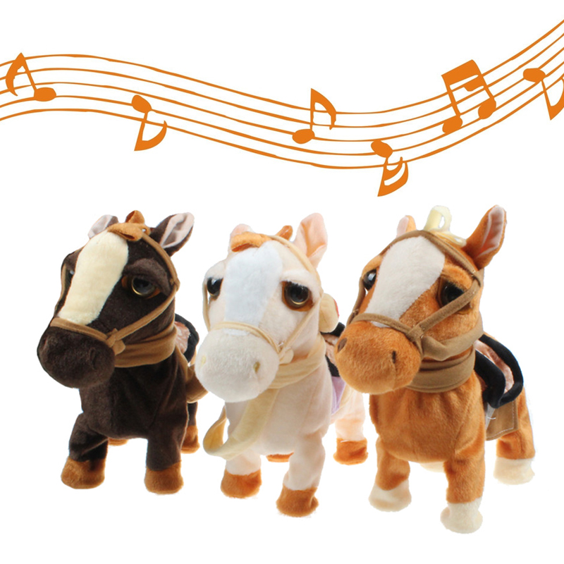 30cm Electric Horse Plush Toy Music Sound Walking Machinery Pony Electronic Remote Control Horse Toys For Children Birthday Gift