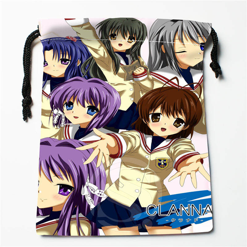 J&w47 New CLANNAD Custom Printed  Receive Bag Compression Type Drawstring Bags Size 18X22cm W725&DWl47