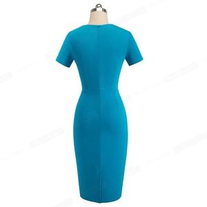 Image 2 - Nice forever Vintage Elegant Pure Color Irregular neckline Work vestidos Business Bodycon Office Party Women Sheath Dress B496
