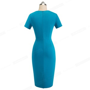 Image 2 - Nice robe fourreau pour femmes, tenue de travail, moulante, Vintage élégante, couleur Pure, col irrégulier, B496