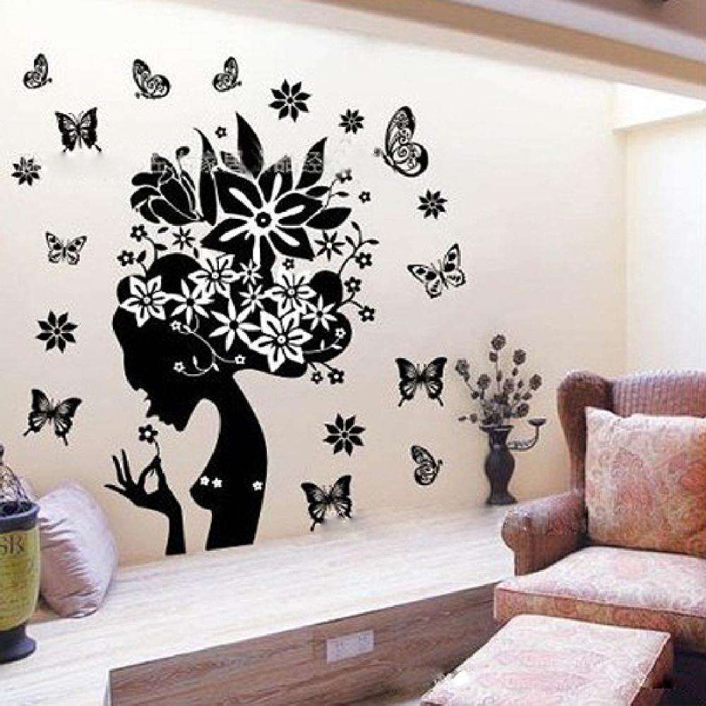 hada de la flor etiquetas de la pared removible vinilo adesivo de parede etiqueta de la