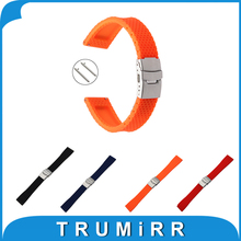 Quick Release Silicone Rubber Watchband 18mm for Withings Activite / Steel / Pop Stainless Steel Safety Buckle Strap Wrist