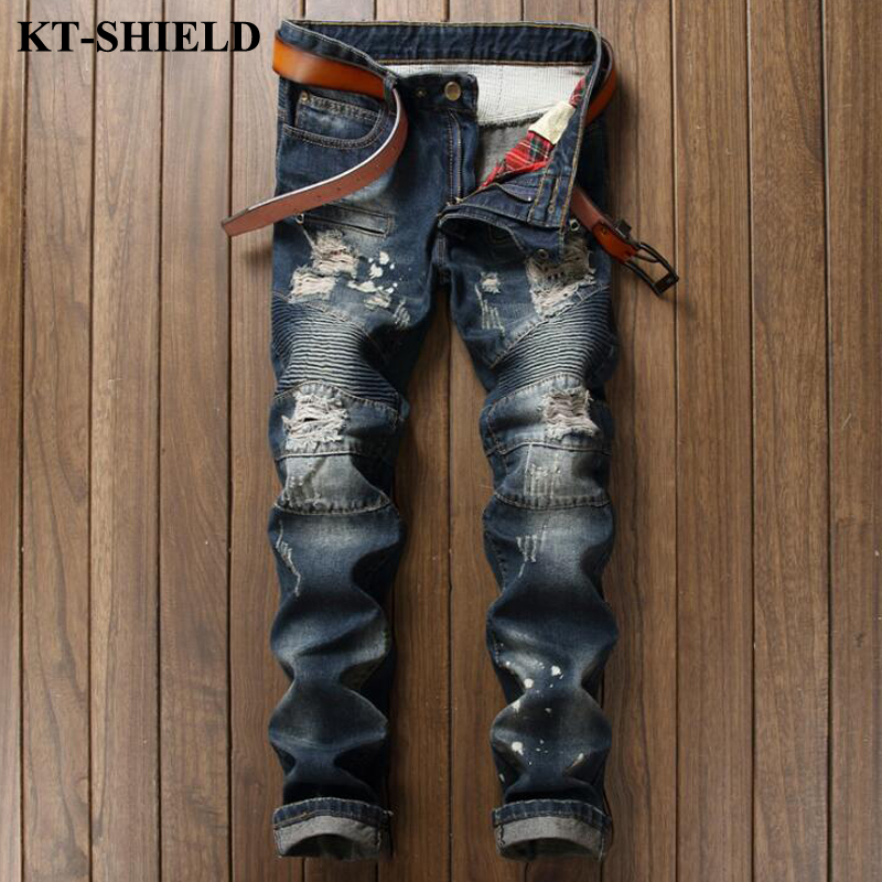 Fashion Mens Brand Jeans 100 Cotton Blue Slim Fit Ripped Jeans Homme Casual Masculina Denim Pants