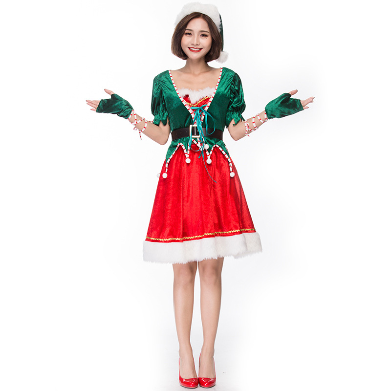 Velvet Red & Green Christmas Elves Costumes Suit Cosplay For Woman Christmas Party Cosplay Plus Size