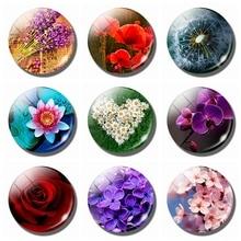 3PCS/SET Flower 30MM Glass Fridge Magnet Rose Dandelion Poppy Lotus Cherry Blossoms Orchid Daisy Whiteboard Refrigerator Magnets