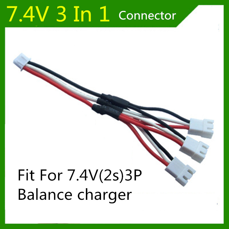 Syma X8C 3 In 1 plug adapter 7.4V 2s lipo battery charging cable 3P white balance charger plug storage cable