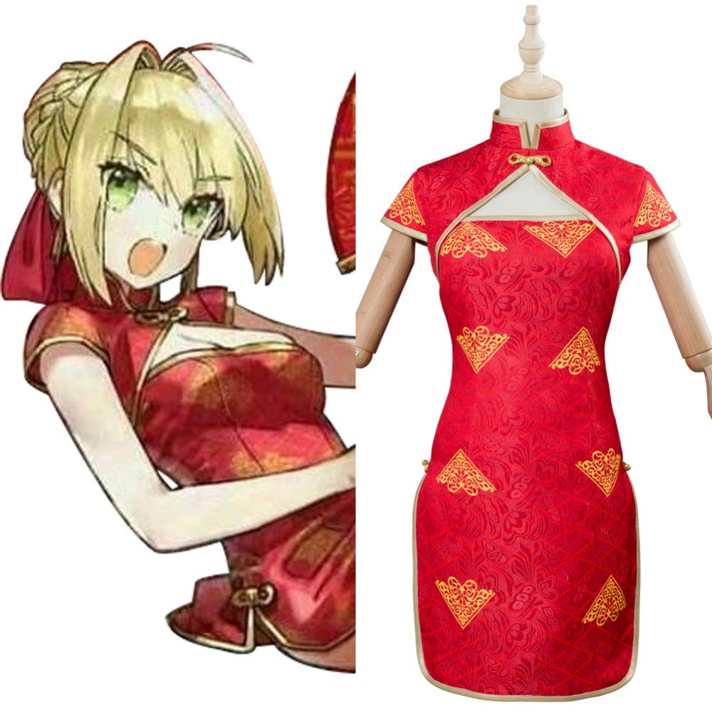 FGO Fate Extella Link Nero Cosplay costume Cheongsam Scathach Nero Francis Drake costume Red Dress Halloween Carnival Cosplay