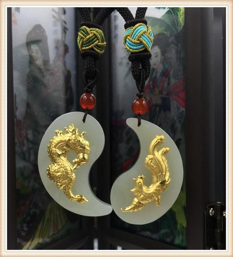 Goldes Hetian Yulong Fengyu-amoureux des Jades incrustés suspendus Golds huit diagrammes avec pendentifs Yin et Yang livraison gratuite