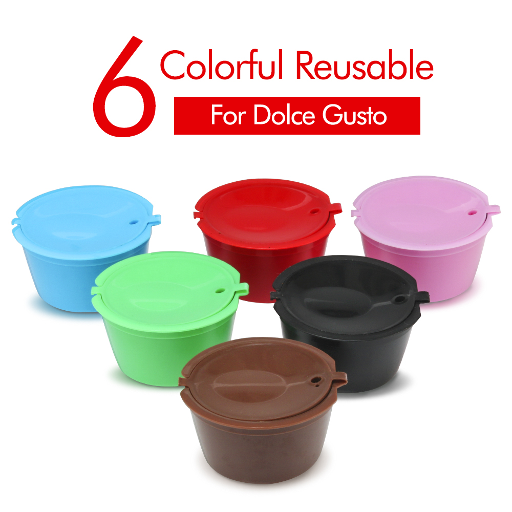 3/6pcs/lot Reusable Nescafe Dolce Gusto Coffee Capsule Filter Cup Refillable Caps Spoon Brush Filter Baskets Pod Soft Taste Swee