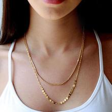 Fashion Golden Chain Bar 2 layer Necklace Casual Beads Long Strip Pendants Gifts Women Necklaces Jewelry