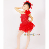 Support-Dance Feather Professional Ballet Dress Kids Adult Contemporary Dance Costume C228