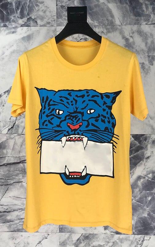2019 imprimé léopard femmes hommes t-shirts Hiphop Streetwear hommes coton t-shirt taille européenne