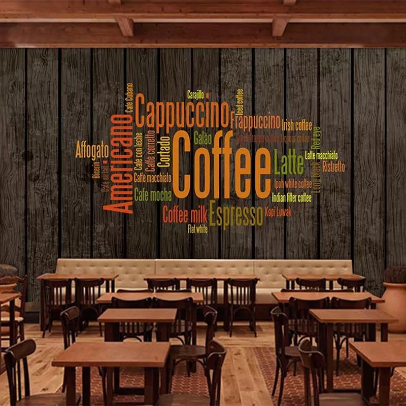 Vintage Wallpaper 3D Retro Coffee Letters Photo Wall Murals Restaurant Cafe KTV Bar Background Wall Painting Papel De Parede 3 D