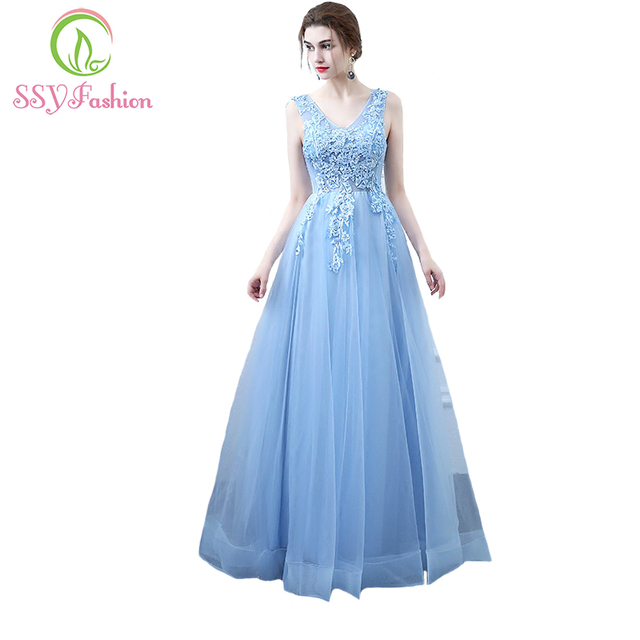770a1d1a5a4 SSYFashion New Fresh Light Blue Lace Evening Dress The Bride Banquet  Elegant V-neck Appliques Beading Long Formal Party Gown