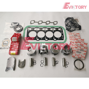 For Hiatch Excavator 4LE2 Piston piston ring full cylinder head gasket kit main crankshaft bearing + con rod bearing