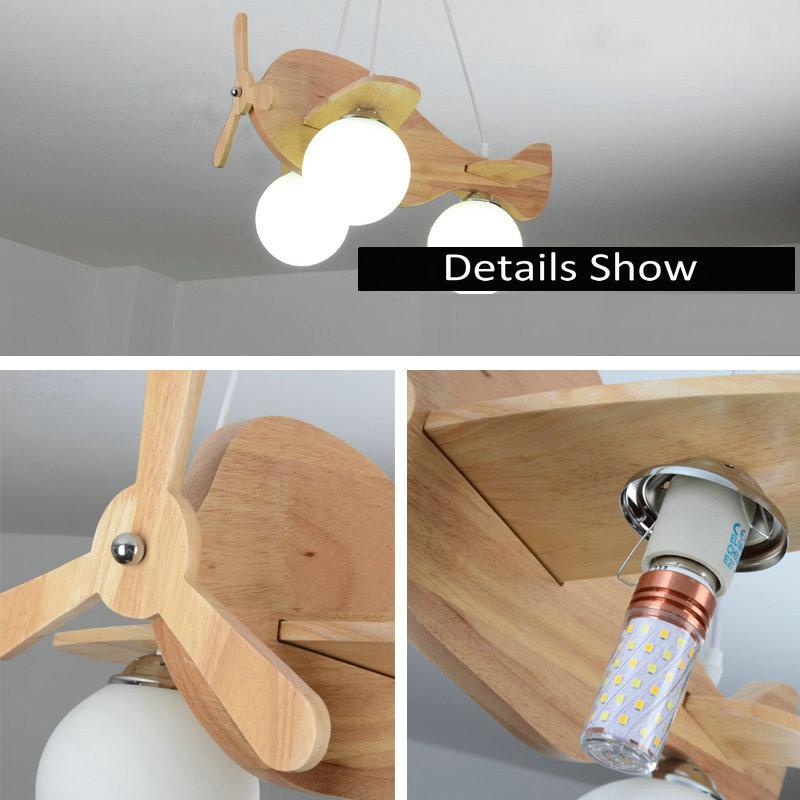 Artpad Modern Nordic Wood Bedroom Pendant Lights Airplane E27 LED Childern Kids Pendant Light Lamp for Nursery Kindergarten Deco in Ceiling Lights from Lights Lighting
