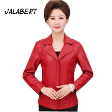 JALABERT 2017 jackets coats spring autumn leather clothing 6XL plus size women leather jacket slim long