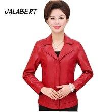JALABERT 2017 jackets coats spring autumn leather clothing 6XL plus size women leather jacket slim long leather coat female
