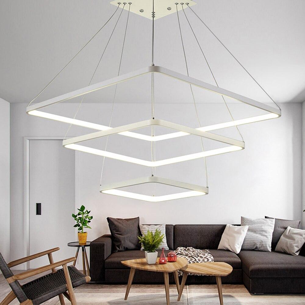 Lustre Moderno Levou Lustre De Ilumina O Quadrado Branco L Mpada  -> Lustre Embutido Sala De Jantar