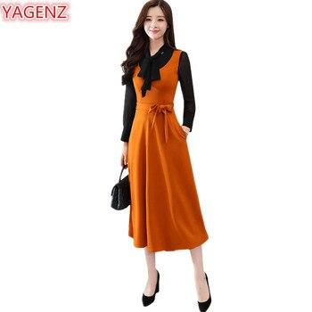 49d30460d38 YAGENZ с длинными рукавами весеннее платье женская одежда элегантные платья  мода 2018 темперамент леди длинное платье повязки Платье черного цв.