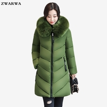 Regular large size 6XL loose coat Slim jacket winter woman long outwear Big fur collar warm cotton overcoat hooded plus size