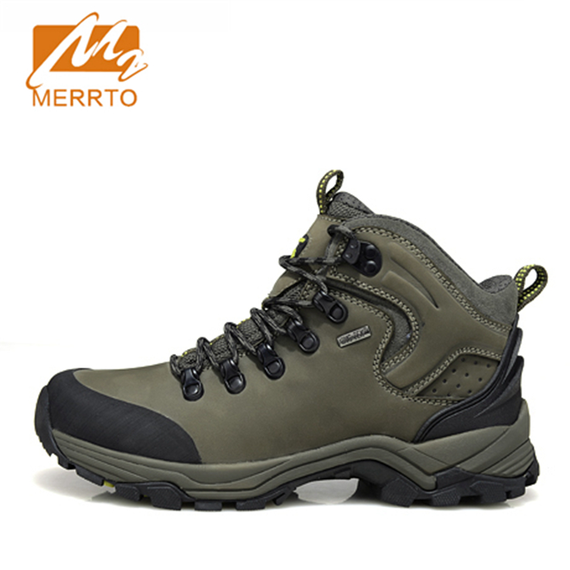 2017 Merrto Mens Hiking Sports Shoes Waterproof Outdoor Shoes Trekking Boots Full-grain leather For Men Free Shipping MT18638