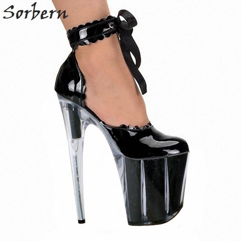 Rond Épais La Sorbern Ultra Haute Chaussures Dames 10 À Sexy black Clear Plate Heel Cm Bout Pompe Talons Épaisse Bride 20 black Semelle Cheville Talon De Heels Ruches forme 6Ir6vqwa